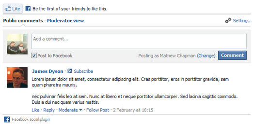Integração com comentários de facebook